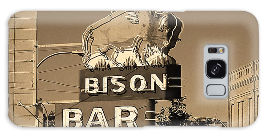 America Galaxy S8 Case featuring the photograph Miles City, Montana - Bison Bar Sepia by Frank Romeo