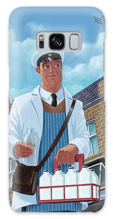 Milkman Galaxy S8 Case featuring the painting Milkman On Daily Milk Delivery In Urban Old Street by Martin Davey