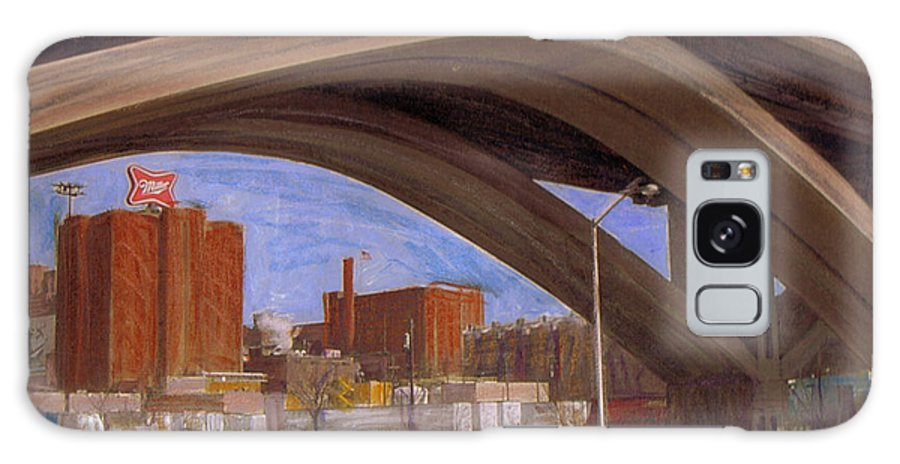 Mixed Media Galaxy S8 Case featuring the mixed media Miller Brewery Viewed Under Bridge by Anita Burgermeister