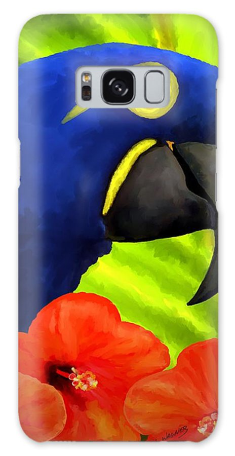 Hyacinth Macaw Galaxy S8 Case featuring the painting Mimi by David Wagner