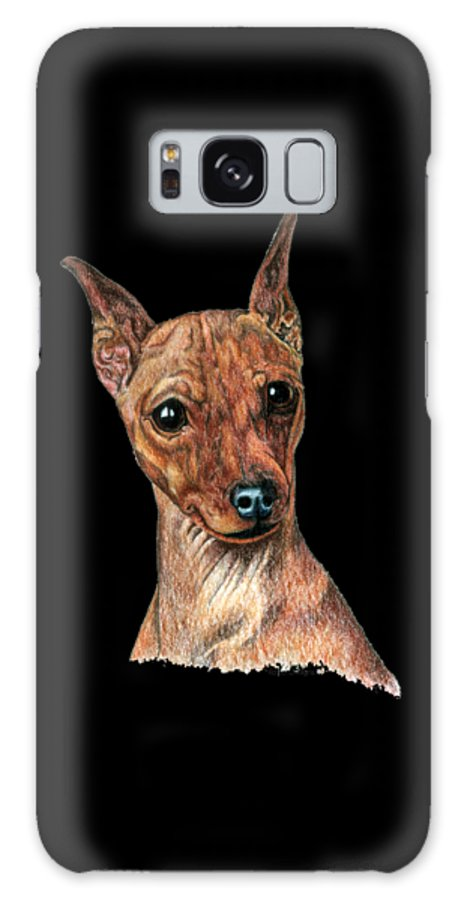 Mini Pin Galaxy Case featuring the drawing Miniature Pinscher, Min Pin by Kathleen Sepulveda
