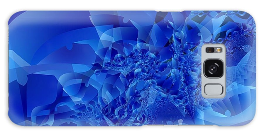 Fractal Art Galaxy S8 Case featuring the digital art Mirrored Waves In Blue by Ron Bissett