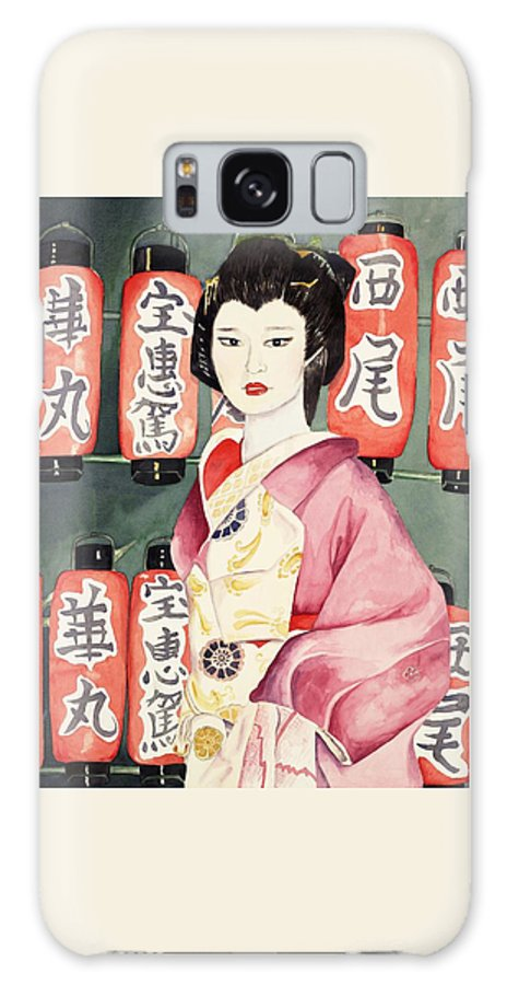 Geisha In Kimono With Red Lanterns Galaxy Case featuring the painting Miss Hanamaru At Osaka Festival by Judy Swerlick