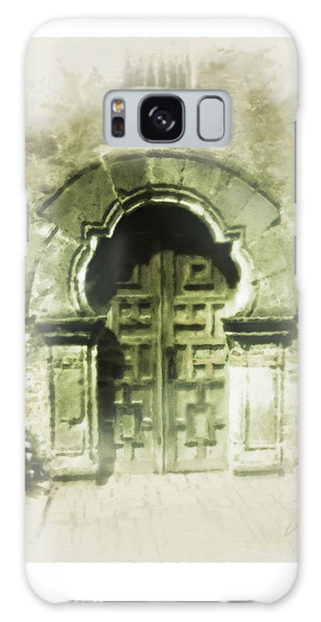 Digital Art Galaxy S8 Case featuring the painting Mission Espada Chapel Door by Cliff Hawley