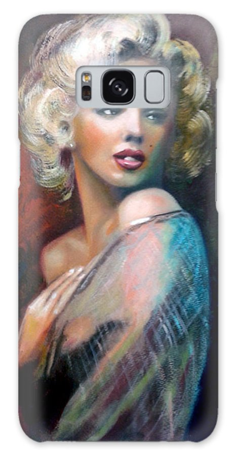 Monroe. Women. Galaxy Case featuring the painting M.Monroe by Jose Manuel Abraham