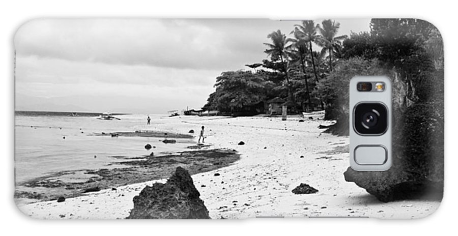 Beach Galaxy S8 Case featuring the photograph Moalboal Cebu White Sand Beach In Black And White by James BO Insogna