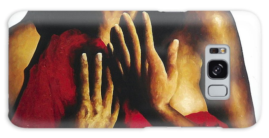 Nude Galaxy S8 Case featuring the painting Modern Day Pieta by Trisha Lambi