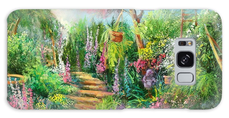 Gardens Galaxy Case featuring the painting Monica's Garden by Sally Seago