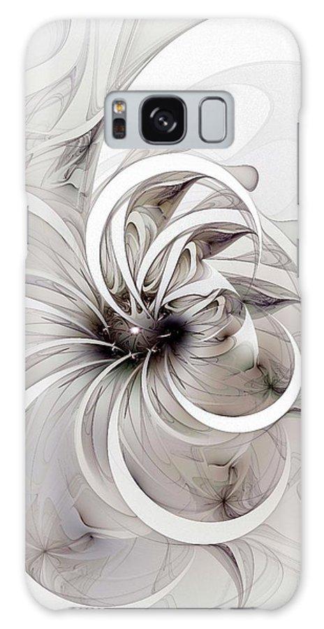 Digital Art Galaxy Case featuring the digital art Monochrome Flower by Amanda Moore