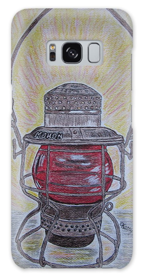 Monon Galaxy S8 Case featuring the painting Monon Red Globe Railroad Lantern by Kathy Marrs Chandler