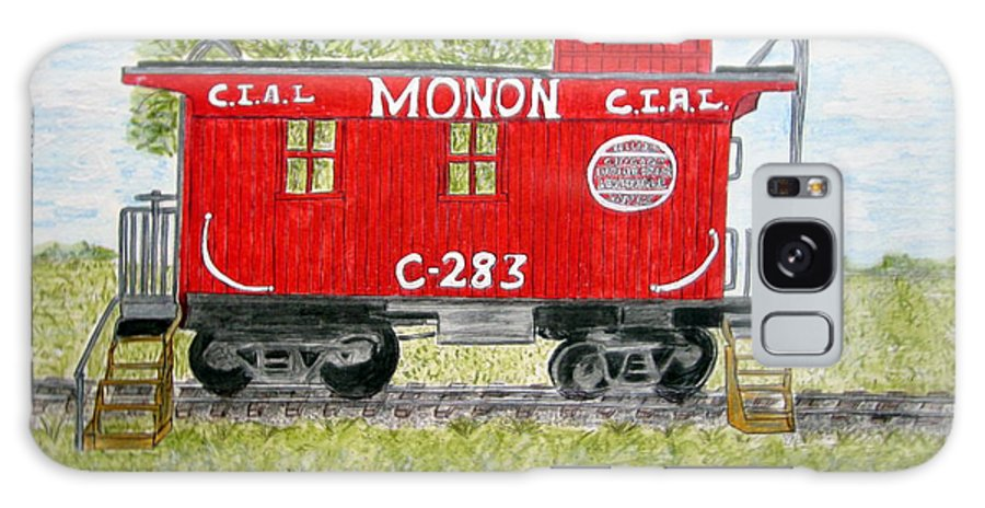 Monon Galaxy Case featuring the painting Monon Wood Caboose Train C 283 1950s by Kathy Marrs Chandler