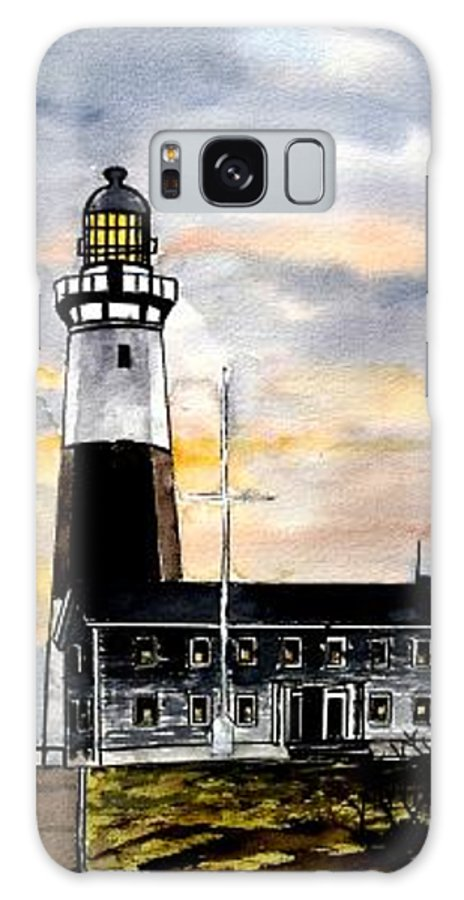 Montauk Point Galaxy S8 Case featuring the painting Montauk Point Lighthouse by Derek Mccrea