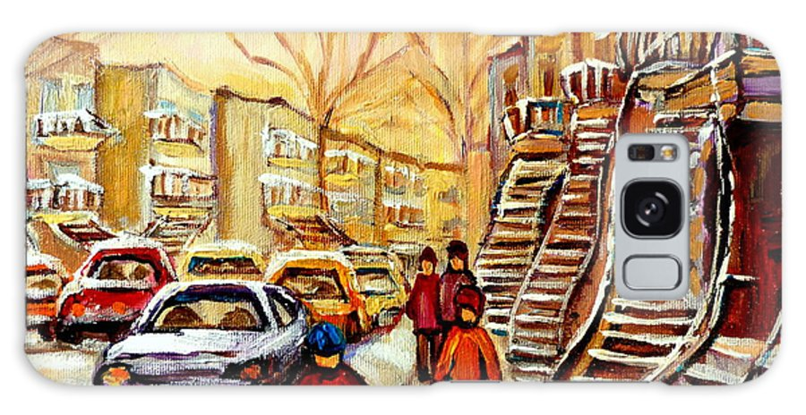 Montreal Galaxy S8 Case featuring the painting Montreal City Scene In Winter by Carole Spandau