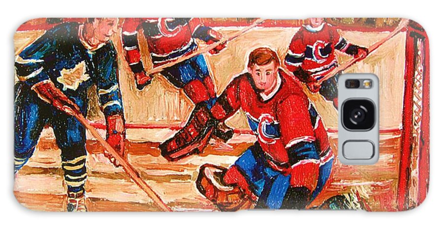 Montreal Forum Hockey Galaxy S8 Case featuring the painting Montreal Forum Hockey Game by Carole Spandau