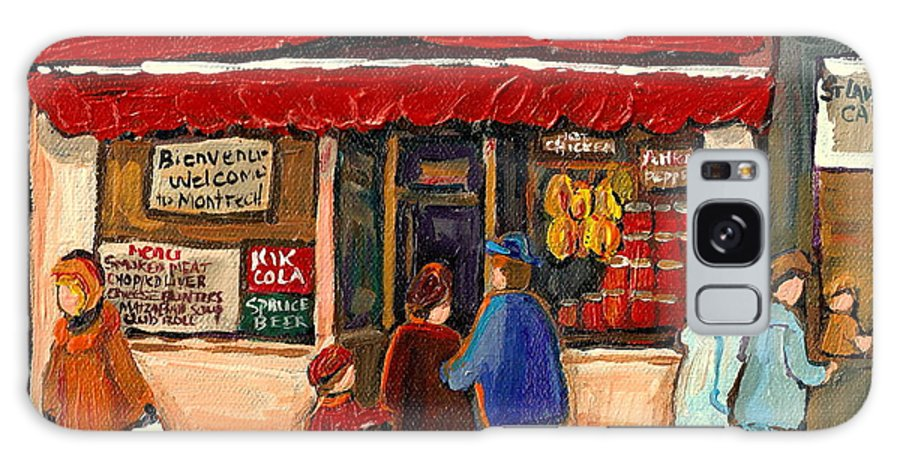 Montreal Hebrew Delicatessen Galaxy S8 Case featuring the painting Montreal Hebrew Delicatessen Schwartzs By Montreal Streetscene Artist Carole Spandau by Carole Spandau