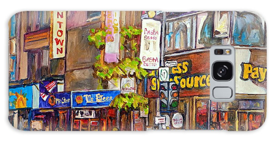 Montreal Galaxy S8 Case featuring the painting Montreal St.catherine Street Corner Peel by Carole Spandau
