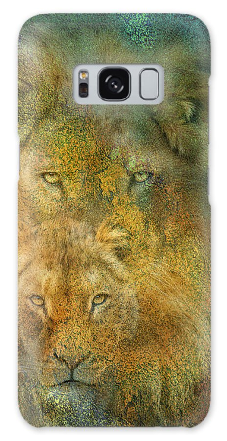 Lion Galaxy S8 Case featuring the mixed media Moods Of Africa - Lions by Carol Cavalaris