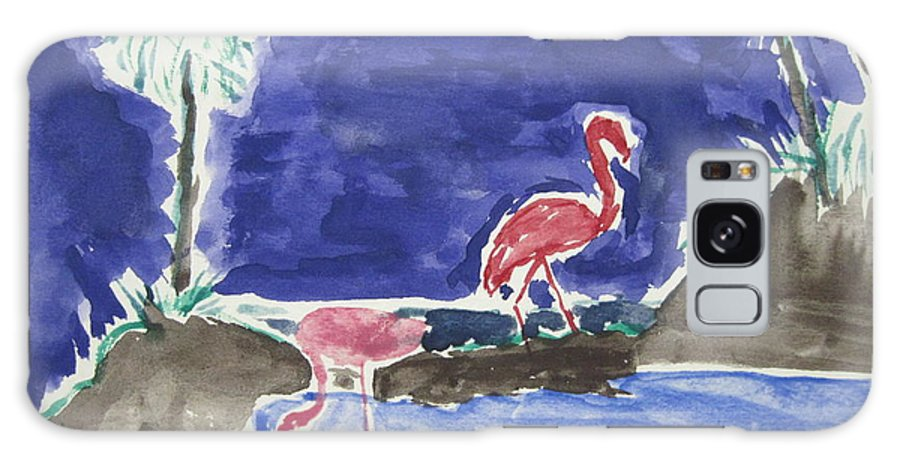Landscape Galaxy S8 Case featuring the drawing Moon Evening.flamingo. Water Color 1995 by Dr Loifer Vladimir
