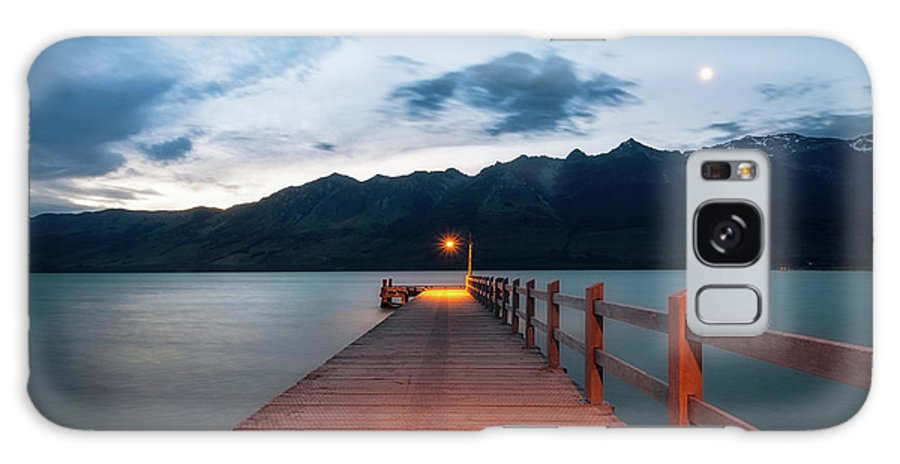 Colorful Galaxy S8 Case featuring the photograph Moon Rising At Glenorchy Wharf, New Zealand by Daniela Constantinescu