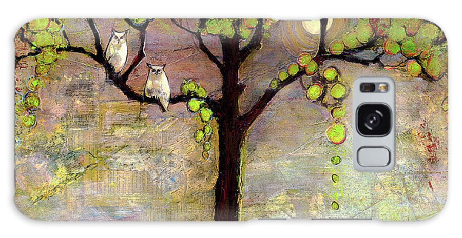 Paintings Galaxy S8 Case featuring the painting Moon River Tree Owls Art by Blenda Studio