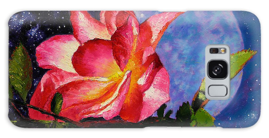 Moonlight Galaxy S8 Case featuring the painting Moonlight And Roses by John Lautermilch
