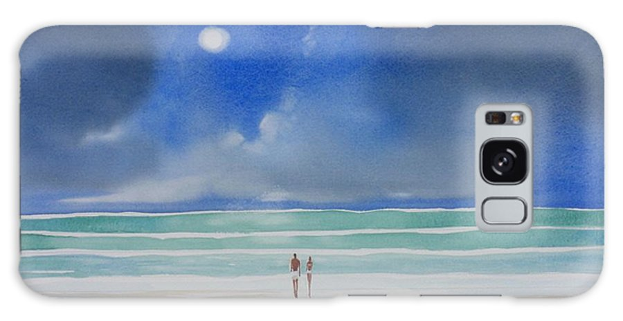 Moonlight Galaxy S8 Case featuring the painting Moonlight At The Beach II by Tom Harris
