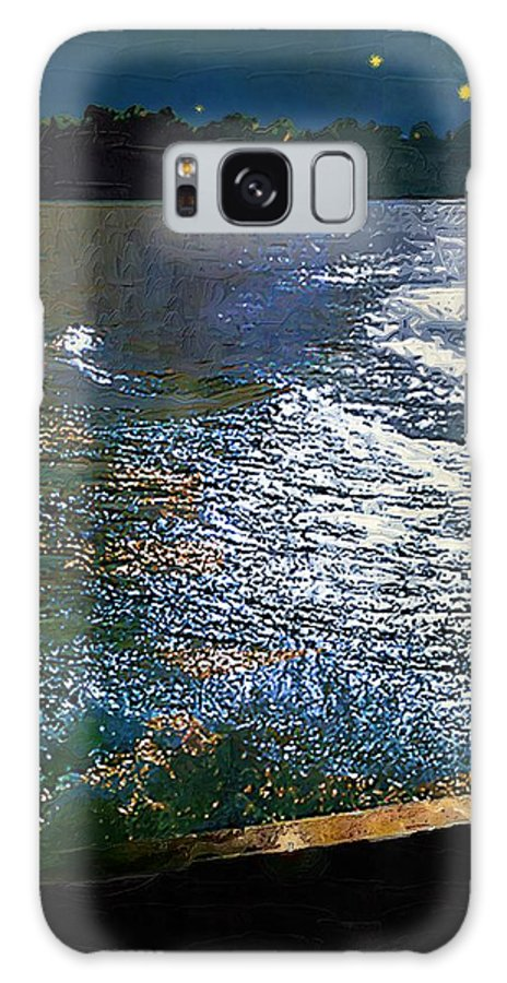 Impasto Galaxy S8 Case featuring the painting Moonlight On The Mississippi by RC DeWinter