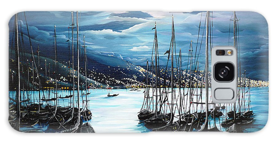 Ocean Painting  Caribbean Seascape Painting Moonlight Painting Yachts Painting Marina Moonlight Port Of Spain Trinidad And Tobago Painting Greeting Card Painting Galaxy S8 Case featuring the painting Moonlight Over Port Of Spain by Karin Dawn Kelshall- Best