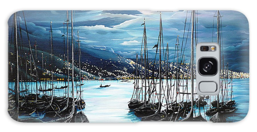 Ocean Painting  Caribbean Seascape Painting Moonlight Painting Yachts Painting Marina Moonlight Port Of Spain Trinidad And Tobago Painting Greeting Card Painting Galaxy Case featuring the painting Moonlight Over Port Of Spain by Karin Dawn Kelshall- Best