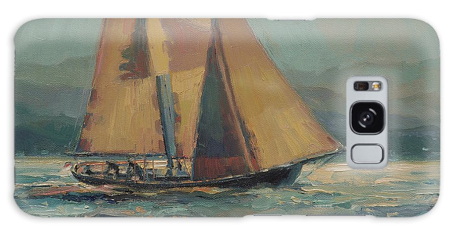 Sailboat Galaxy Case featuring the painting Moonlight Sail by Steve Henderson