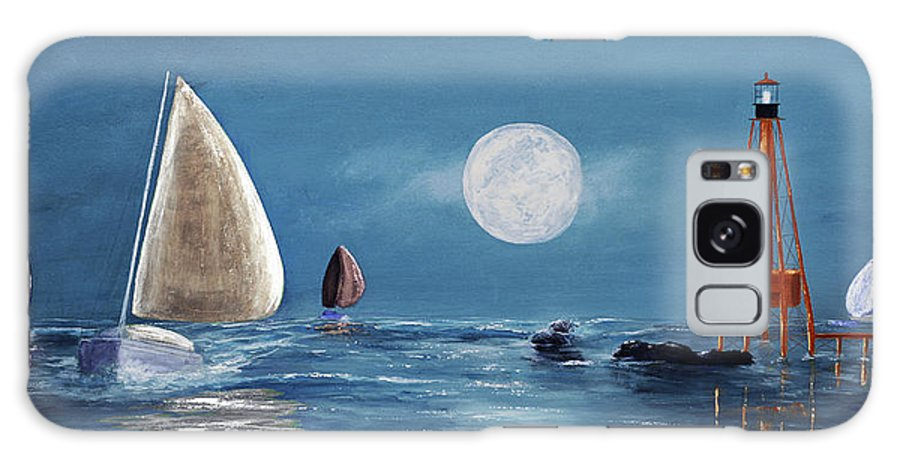 Keys Galaxy S8 Case featuring the painting Moonlight Sailnata 4 by Ken Figurski