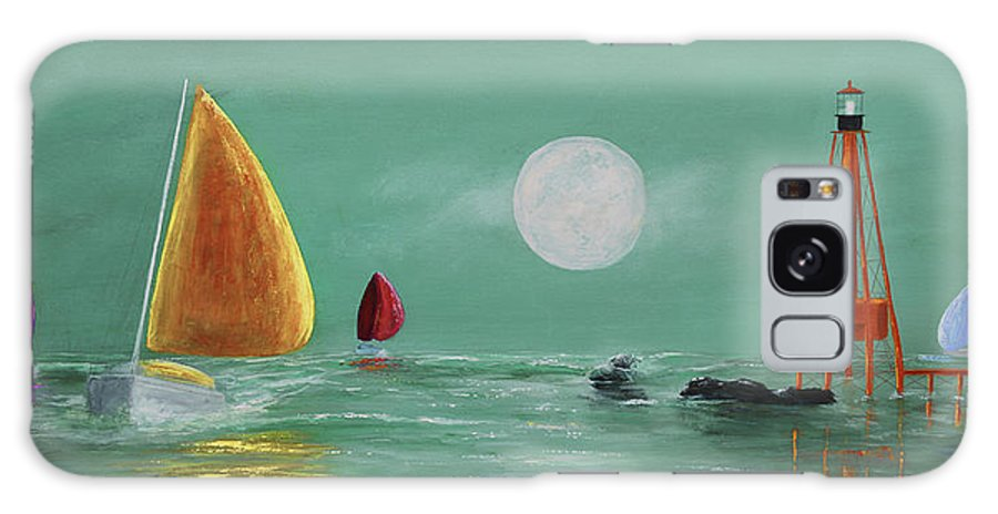 Keys Galaxy S8 Case featuring the painting Moonlight Sailnata by Ken Figurski