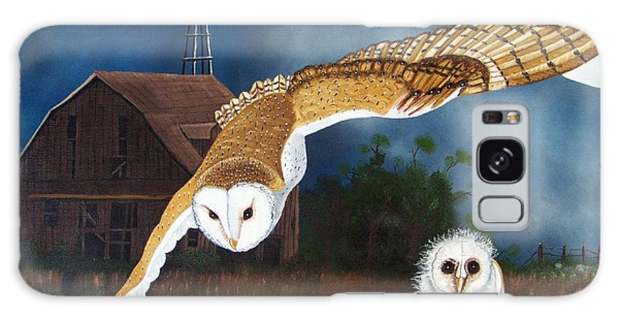 Owl Galaxy S8 Case featuring the painting Moonlit Flight by Debbie LaFrance
