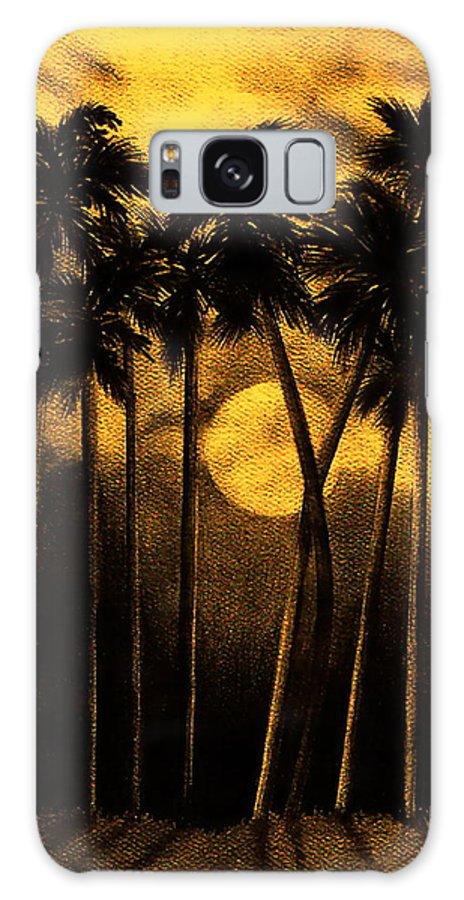 Moonlit Palm Trees In Yellow Galaxy S8 Case featuring the mixed media Moonlit Palm Trees In Yellow by Larry Lehman