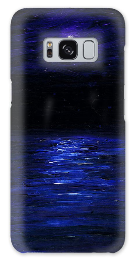 Small Spaces Galaxy S8 Case featuring the painting Moonlit Water Mini Oil Painting On Masonite by Regina Valluzzi