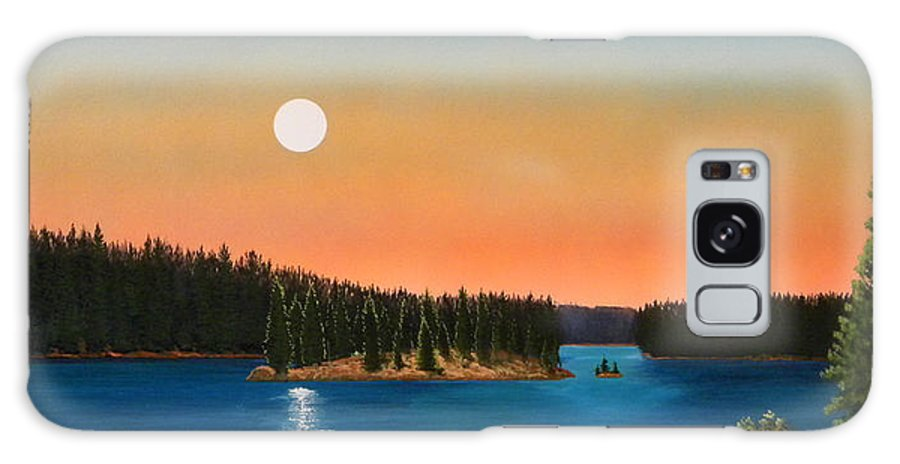 Landscape Galaxy S8 Case featuring the painting Moonrise Over The Lake by Frank Wilson