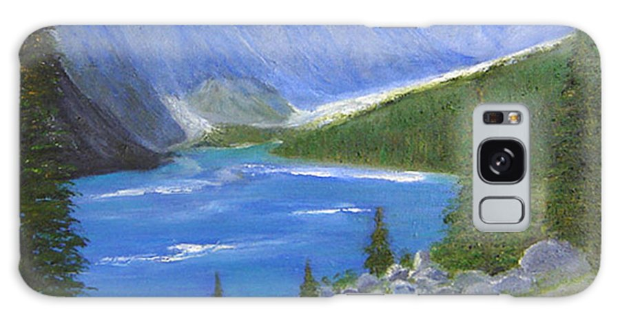 Landscape Galaxy S8 Case featuring the painting Moraine Lake, 16x20, Oil, '07 by Lac Buffamonti