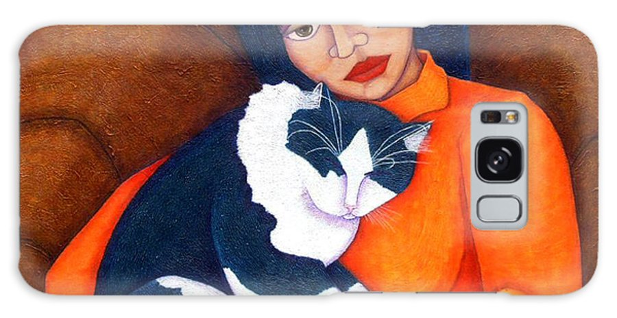 Woman Galaxy S8 Case featuring the painting Morgana With Woman by Madalena Lobao-Tello
