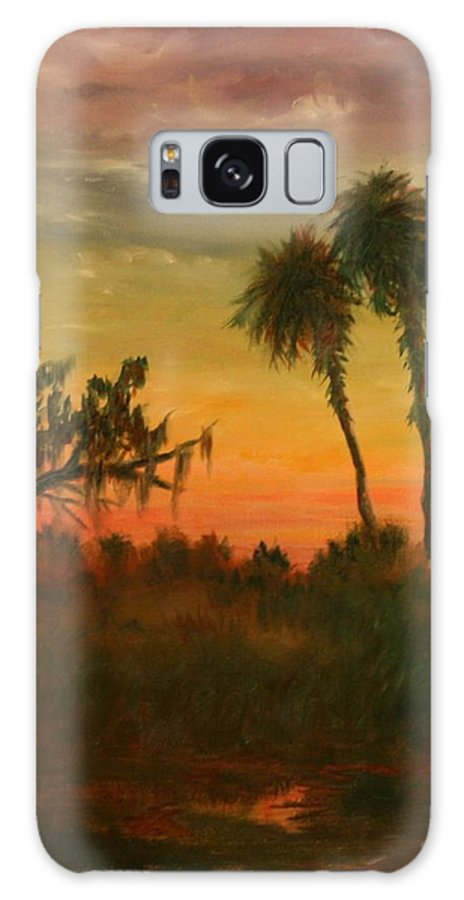 Palm Trees; Tropical; Marsh; Sunrise Galaxy S8 Case featuring the painting Morning Fog by Ben Kiger
