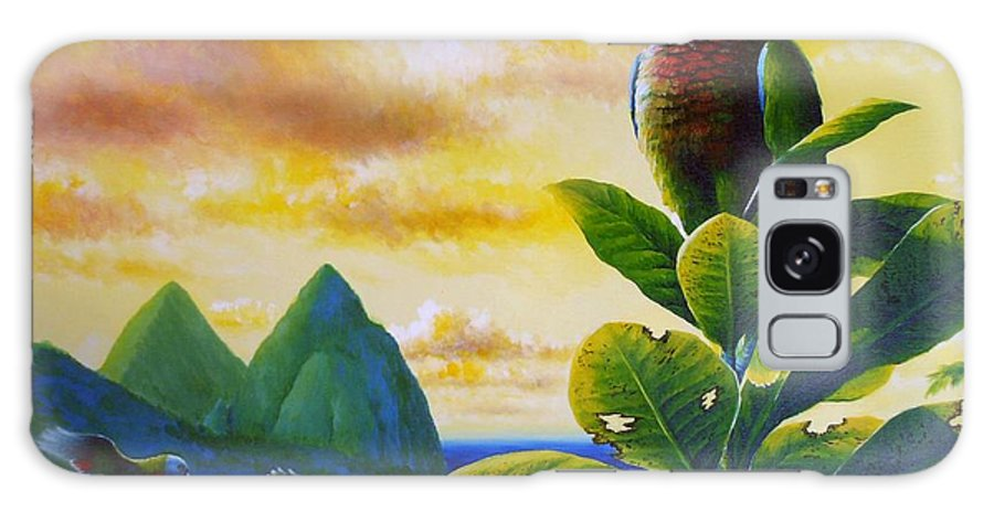 Chris Cox Galaxy S8 Case featuring the painting Morning Glory - St. Lucia Parrots by Christopher Cox