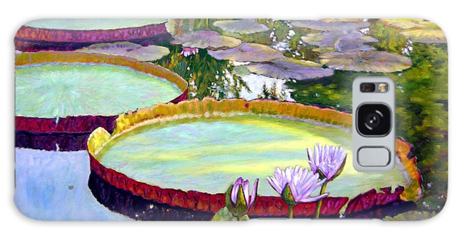 Garden Pond Galaxy Case featuring the painting Morning Highlights by John Lautermilch