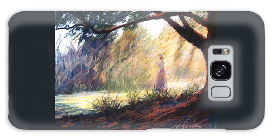 Woman Meditating Tree Park Outdoor Galaxy Case featuring the pastel Morning Meditation by Pat Snook