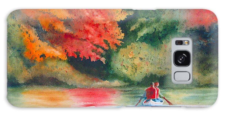 Lake Galaxy Case featuring the painting Morning On The Lake by Karen Stark