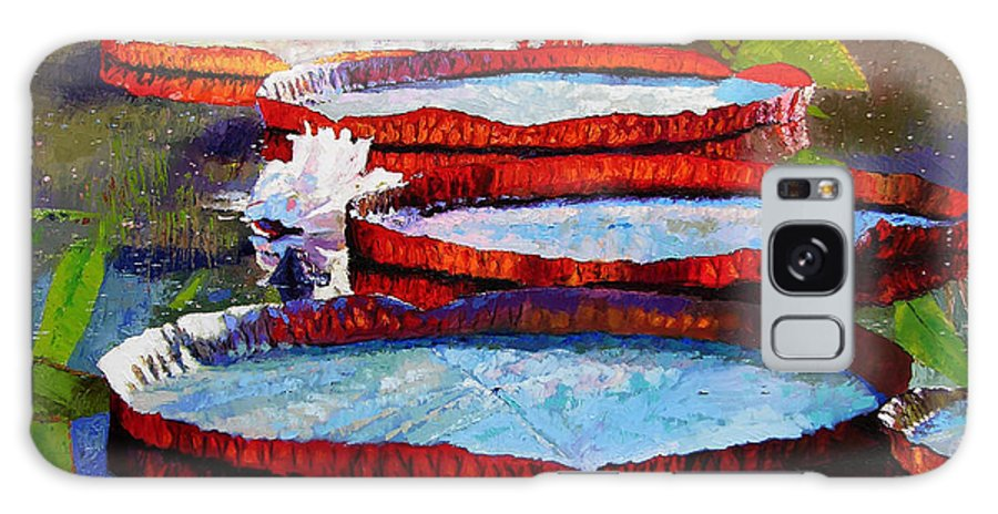 Water Lily Pond Galaxy Case featuring the painting Morning Sunlight by John Lautermilch