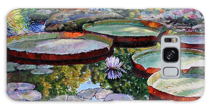 Water Lilies Galaxy Case featuring the painting Morning Sunlight on Fall Lily Pond by John Lautermilch
