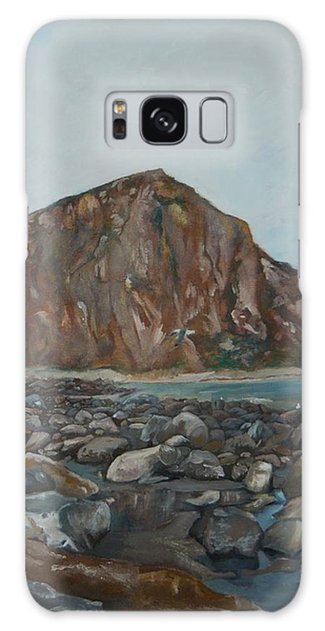 Morro Bay Galaxy S8 Case featuring the painting Morro Rock by Travis Day