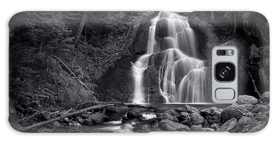 Moss Glen Falls Galaxy Case featuring the photograph Moss Glen Falls - Monochrome by Stephen Stookey