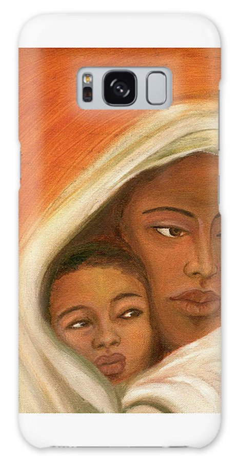 Figuretive Mother And Child Galaxy Case featuring the painting Mother And Child by Asha Sudhaker Shenoy