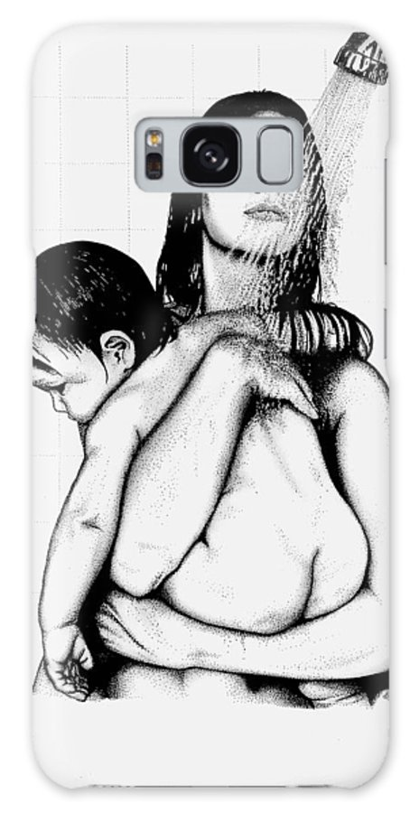 Mother And Child Galaxy Case featuring the drawing Mother And Child by Larry Lehman