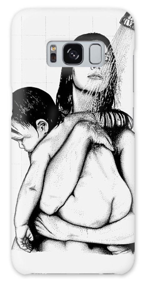 Mother And Child Galaxy S8 Case featuring the drawing Mother And Child by Larry Lehman